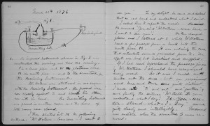 Bell's March 10, 1876 laboratory notebook entry describing his first successful experiment with the telephone