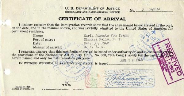 Maria-Von-Trapp_Certificate-of-Arrival_2