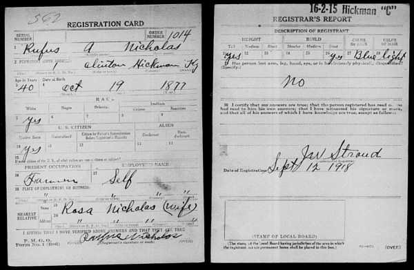 Genealogy: World War I Draft Cards