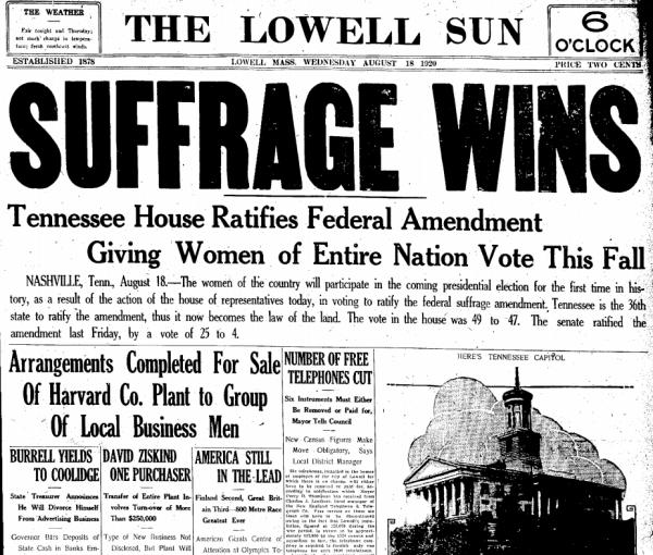 The 19th Amendment Ratified