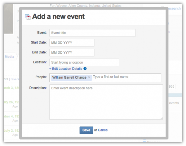 Geni Tips: Add Events to Timelines