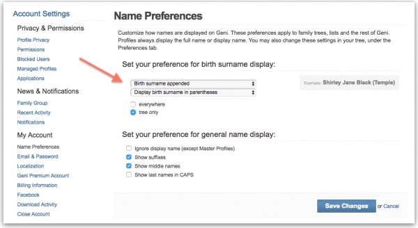 Geni Tips: Customize Your Name Preferences