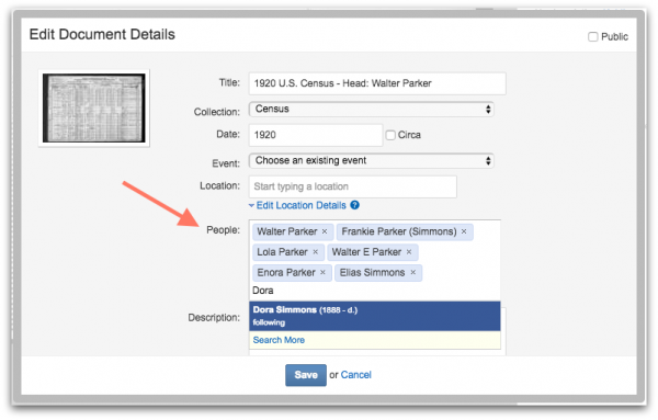 Geni Tips: Tag Multiple Profiles to a Document