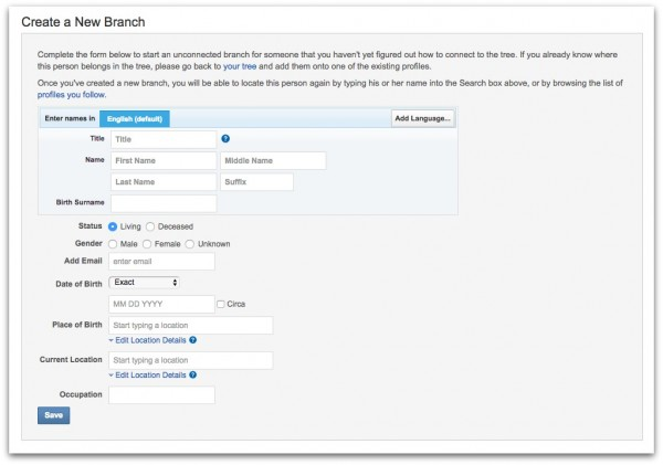 New: Create a Branch