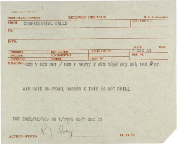 telegram regarding attack on Pearl Harbor 06339_2004_001