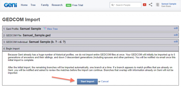 The Return of GEDCOM Imports on Geni